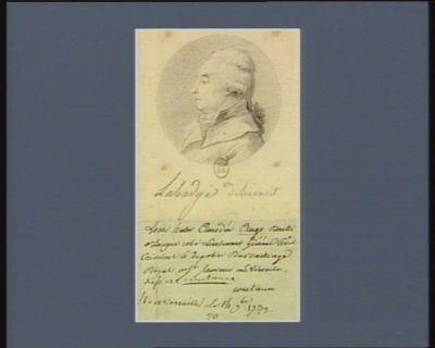Louis Hector Amédée Ango bailli à longue robe lieutenant général civil criminel et de police du bailliage royal de S.t Sauveur le Vicomte dép. de Coutance, né à Versailles le 14 9.bre 1739 : [dessin]
