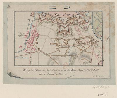 Le  Siège de Valenciennes sous le comendement de son Altesse Royal le Duc d'York, avec les armées combiennes [dessin]