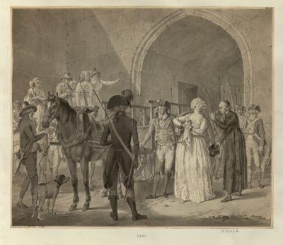 [Marie-Antoinette quittant la Conciergerie pour aller à l'échafaud] [dessin]
