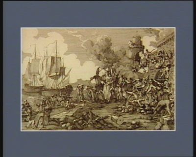 Prise de Toulon par l'armée républicaine le 29 frimaire de l'an 2.me fuite précipitée des Anglois et des infames Toulonnois : [estampe]