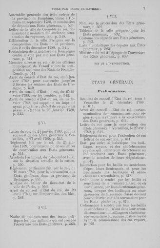 Tome 7 : Table des cahiers des états généraux - page 7