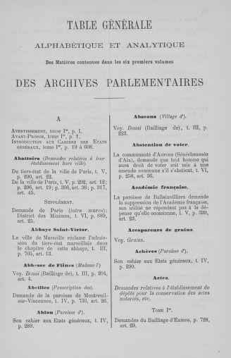 Tome 7 : Table des cahiers des états généraux - page ..