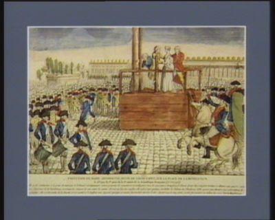 Exécution de Marie Antoinette, veuve de Louis Capet, sur la place de la Révolution le 25.e jour du 1.er mois de la 2.e année de la République française (16 oct. <em>1793</em>)... : [estampe]