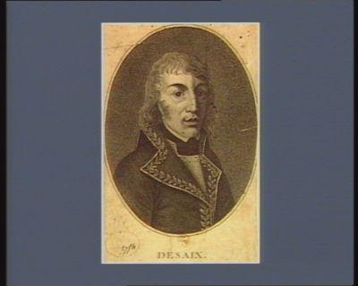 Desaix naquit au mois d'août 1768 dép.t du Puy-de-Dôm[e] <em>à</em> peu de distance de Riom et fut tué le 25 prairia[l] an 8 <em>à</em> la bataille de Marengo : [estampe]