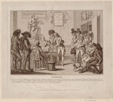 Egalité les porteurs de charbon, comme les chevaliers de St Louis, sont tenus de deposer au secrétariat de la municipalité le signe distinctif qu'ils tiennent de l'ancien régime... : [estampe]