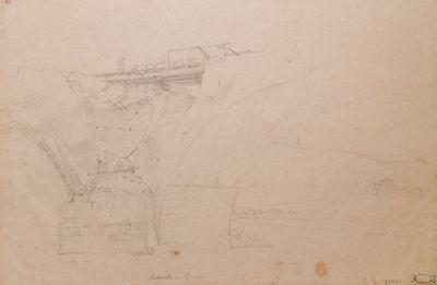 Ponte Milvio, dettaglio di un pilone con l'imposta degli archi dopo la demolizione di Garibaldi