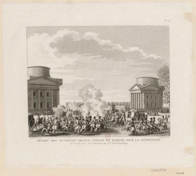 Départ des ex-députés Billaud Collot et Barrere pour la déportation le 1.er avril 1795, ou 12 germinal an 3.eme de la République : [estampe]