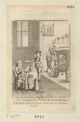 Le  Roi mangeant des pieds a la Sainte Menehould le maitre du poste confronte un assignatet reconnait le roi [estampe]