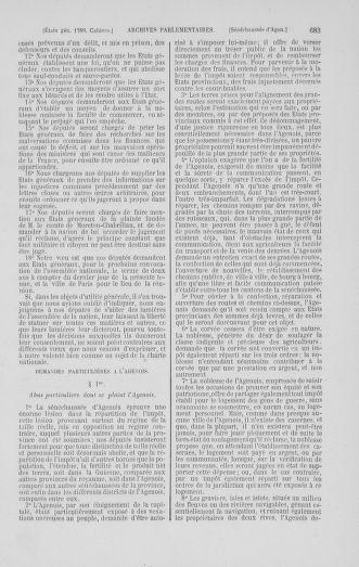 Tome 1 : 1789 – Introduction - états généraux - préliminaires. Cahiers des sénéchaussées et baillages [Agen - Amont] - page 683