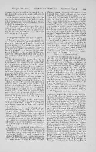 Tome 1 : 1789 – Introduction - états généraux - préliminaires. Cahiers des sénéchaussées et baillages [Agen - Amont] - page 685