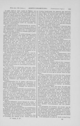 Tome 1 : 1789 – Introduction - états généraux - préliminaires. Cahiers des sénéchaussées et baillages [Agen - Amont] - page 689