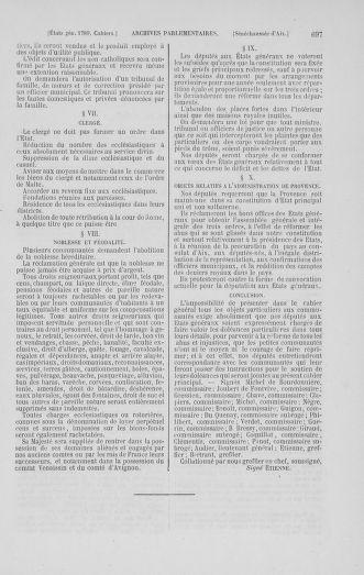 Tome 1 : 1789 – Introduction - états généraux - préliminaires. Cahiers des sénéchaussées et baillages [Agen - Amont] - page 697