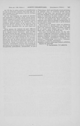 Tome 1 : 1789 – Introduction - états généraux - préliminaires. Cahiers des sénéchaussées et baillages [Agen - Amont] - page 707