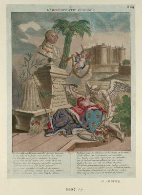 L' Aristocratie écrasée : espoir de l'age d'or : A Louis XVI Pere des Français et Roi d'un Peuple libre : La Bastille, où la nuit sert des tyrans heureux ! ... : [estampe]