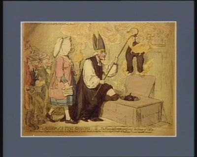 The  Bishop of a tun's breches or The Flaming Eveque, purifying the House of <em>Office</em>... : [estampe]