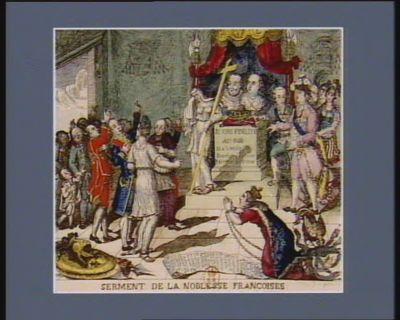Serment de la noblesse françoises nous suivrons Sire, vos augustes freres. Ils viennent de l'école de l'adversité. Sans elle Henri IV n'eut pas été si grand. Comme lui ils veulent reconquerir le roiaume en vainqueur, & en pere pour le remettre entre vos mains & c. lettre au Roi sur la proclamation du 14 no.bre 1791 : [estampe]