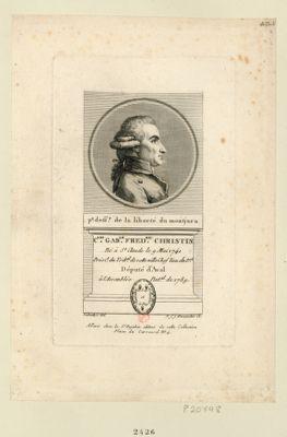 C.les Gab.le Fred.ric Christin né à St Claude le 9 mai 1741 prési.t du trib.al de cette ville chef lieu du d.ct député d'Aval â l'Assemblée nat.al de 1789 : [estampe]