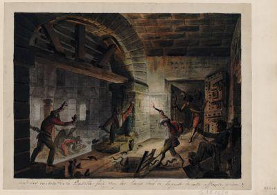 Un des cachots de la Bastille fait sur les lieux lors de la prise de cette affreuse <em>prison</em> [dessin]