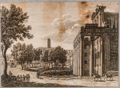 Tempio di Antonino e Faustina, scorcio del pronao
