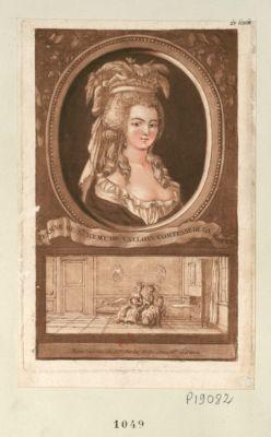 Jeanne de St Rémi de Vallois comtesse de la Motte Prem.re visite de Mme de La Motte chez Mlle d'Oliva : [estampe]