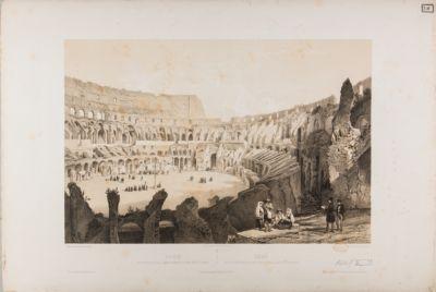 Vue interieure de l'amphitheatre Flavien dit le Colysee / Roma, veduta interna del anfiteatro Flavio detto il Colosseo