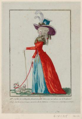 M.lle Sophie en rodingotte, tenant un petit chien avec un ruban, sur le boulevard [estampe]