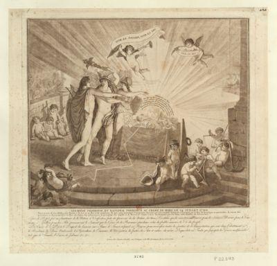 Serment fédératif et national prononcé au <em>Champ</em> <em>de</em> <em>Mars</em>, le 14 juillet 1790 nous jurons d'être fideles à la nation, à la loi et au Roi et <em>de</em> maintenir <em>de</em> tout notre pouvoir la constitution décrétée par l'Assemblée Nationale et acceptée par le Roi, <em>de</em> protéger en particulier la sureté des personnes et <em>de</em> propriétés, la libre circulation des subsistances, la perception des impôts et <em>de</em> demeurer réunis à tous les français par les liens indissolubles <em>de</em> la fraternité... : [estampe]