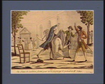 Une femme de condition, fouettée pour avoir craché sur le portrait de Mr Neker [estampe]
