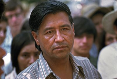 Cesar Chavez during the Gallo march, 1975