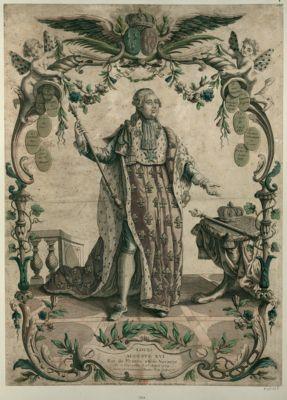 Louis Auguste XVI Roi de France et de Navarre né à Versailles le 23 aoust 1754 sacré et couronné à Reims le 11 juin 1775 : [estampe]