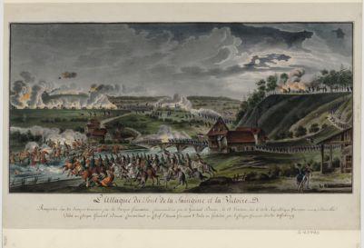 [L' Attaque du pont de la Saingine et la victoire remportée sur les troupes bernoises par les troupes françaises commandées par le general Brune, le 15 ventose an 6 de la Republique française une & indivisible...] : [estampe]