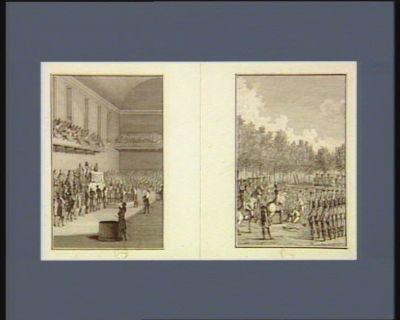 [Salle de l'Assemblée Nationale] [M. de La Fayette fait désarmer les soldats assemblés aux Champs-Elysées] : [estampe]