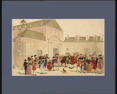 L' Assemblée des aristocrates tenue le 2 mai à la salle des Capucins les plus acharnés sont distingués par deux cornes l'abbé M... le c.te de V... le v.c.te de M... hués par le peuple : [estampe]