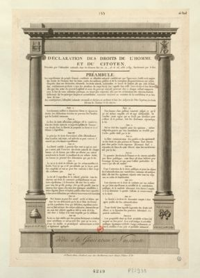 <em>Déclaration</em> des droits de l'homme et du citoyen décrétés par l'Assemblée nationale, dans les séances des 20, 21, 23 et <em>26</em>, août <em>1789</em>, sanctionnés par le roi : [estampe]