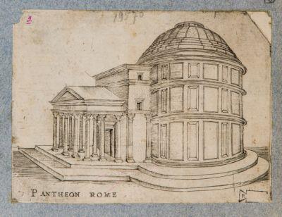 Pantheon, prospetto come sfondo di una composizione allegorica