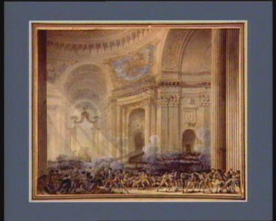Prise des armes dans l'église de l'hôtel des Invalides le 16 juillet 1789 à 9 heures du matin ou plusieurs citoyens ont été étouffés dans la foule par l'envie d'avoir des fusils pour aller assiéger la Bastille le même jour [dessin]