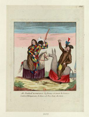 Ah pendard tu veut avoir la femme et encor la bourse combat d'Arlequin avec le réverend père Dom Assinon : [estampe]