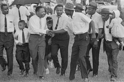 Martin Luther King III (second from left), Martin Luther King Jr., Yolanda King, Hosea Williams, 1966, Gadsden AL