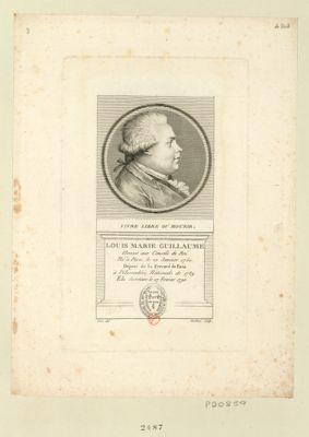 Louis Marie Guillaume Avocat aux Conseils du Roi. Né à Paris le 22 Janvier 1750. Député de la Prevoté de Paris à l'Assemblée Nationale de 1789. Elu Secretaire le 27 Fevrier 1790 : Vivre libre ou mourir : [estampe]