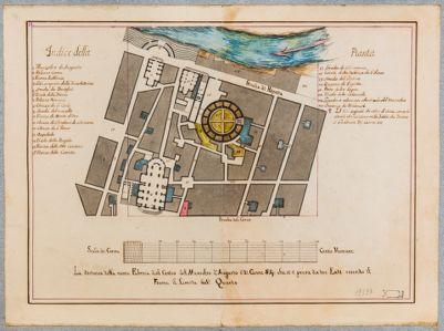 Mausoleo d'Augusto, pianta del monumento e delle case vicine