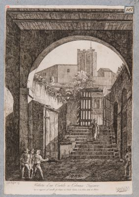 Foro Traiano, veduta di parte dell'esedra verso il Quirinale