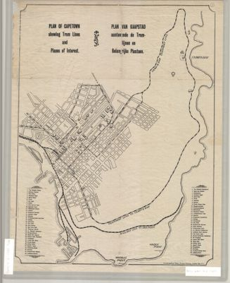 Plan of Cape Town : shewing tram lines and places of interest
