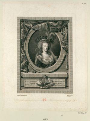 Marie Antoin.te arch.sse d'Autriche reine de France en 1774. Né à Vienne le 2 9. bre 1755 et morte à Paris le 25 8.bre 1793 : [estampe]