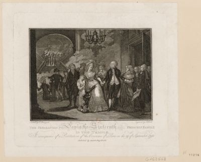 The  Separation fo [sic] Lewis the Sixtenth from <em>his</em> <em>family</em> in the Temple the consequence of a resolution of the Commune of Paris on the 29th of <em>September</em> <em>1792</em> : [estampe]