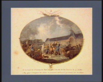 Mr le curé de St Etienne du Mont marchant à la tête de son district le 14 juillet 1789 pour s'emparer des armes et munitions de guerre qui étoient aux Invalides... : [estampe]