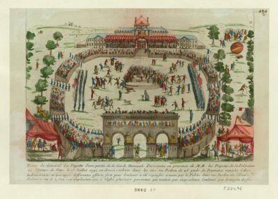 Revue du général La Fayette d'une partie <em>de</em> la Garde nationale parisienne en présence <em>de</em> MM. les députés <em>de</em> la fédération au <em>Champs</em> <em>de</em> <em>Mars</em> le 18 juillet 1790, ou devoit s'enlever dans les airs un ballon <em>de</em> 26 pieds <em>de</em> diametre remplis d'airs inflammable et qui apres differentes efforts fait pour l'enlever a été repoussé a main par le public dans un jardin <em>de</em> l'Ecole Militaire ou il a fait son explosion qui a blessé plusieurs personnes qui vouloit par imprudence l'enlever par le moyen du feu : [estampe]