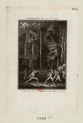 Evénement du 12 9.bre <em>1790</em> duel de M.M. Charles de la Meth et Castries : [estampe]