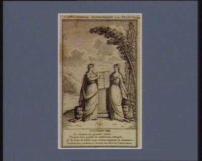 L' Angleterre instruisant la France le 8 février 1649, je commis un grand crime. Prenez bien garde de suivre mon exemple. Si du Dieu de bonté vous voulez implorer la clémence, ouvrez les cachots, et brisez les fers de l'innocence : [estampe]