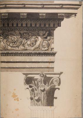 Foro Traiano, particolarei architettonici (fregio e capitello corinzio)