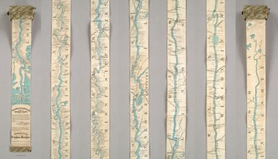 Coloney & Fairchild's Patent Ribbon Maps... Ribbon Map Of The Father Of Waters. Geographical and Scenic Maps upon this plan of all the rivers, rail road routes, stage and coast lines in the country are in preparation